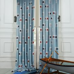 Country Blue Jacquard Kids Curtain  #kids #curtains #homedecor #nursery #custommade Teen Curtains, Cheap Curtains, Blue Curtains, Country Blue, Country Decor, Home Interior, Home Kitchens, Amazon, Home Decor