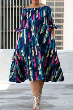 2ad5d0f81202 Off Shoulder Half Sleeve Mid-Calf Stripe Dress
