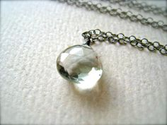 mint sprig necklace  green amethyst heart necklace by FoamyWader, $38.00