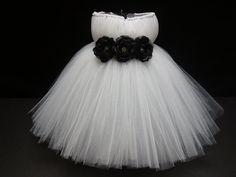 Tutu Dress, Flower Girl Dress- Tutu- Baby Tutu- Newborn Tutu- White Tutu dress-  White And Black Tutu Dress-  Available In Size 0-24 Months on Etsy, $44.00