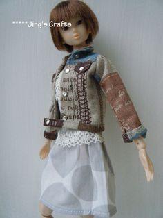 MOMOKO brown jean style jacket by Jing's Crafts by JingsCrafts