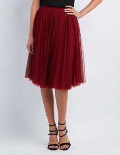 Burgundy Full Tulle Midi Skirt