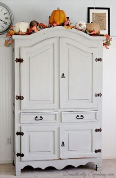 Maison Blanche Painted Furniture Makeover - Domestically Speaking For the pine entertainment armoire