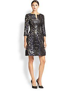 Oscar de la Renta Metallic Brocade Dress