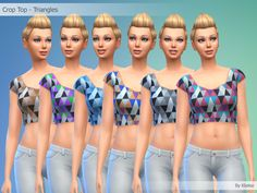 Crop Top - Triangles By Kliekie #Download #Sims4 #TS4 #MM #CC #MMCC #TS4MM #TS4Finds #CustomContent #Sims4CC #Clothing #Casual #Generic #Women #Female #YoungAdult #Adult #Elder #Brown #Purple #Blue #Grey #Multicolor