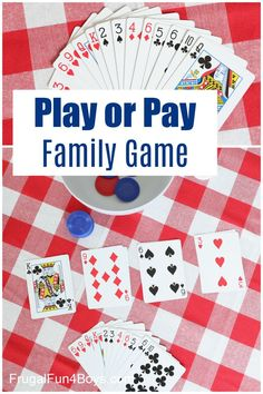 """Learn how to play """"Play or Pay"""" - this is a fun card game for the whole family! Family Card Games, Fun Card Games, Card Games For Kids, Playing Card Games, Kids Playing, Sequence Game, Adult Party Games, Winter Fun, Summer Fun"""