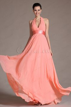 2014 New Graceful Halter Sexy V cut Bridesmaid Dress (C00091846)