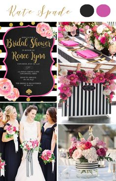 Kate Spade black pink and gold wedding. #katespade bridal shower kate spade party