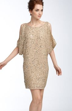 I love anything that glitters..  Aidan Mattox Sequin Cold Shoulder Dress available at #Nordstrom
