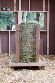 Square bale hay feeder for goats!