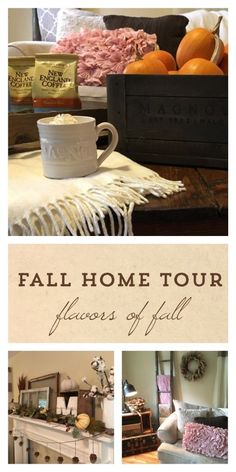 Flavors of Fall Home Tour Beige Neutral Farmhouse Style Fall Decor From the Family With Love New England, Magnolia Crate, Magnolia Mug, ivory afghan, industrial cart coffee table, pink pillows, knit pillows, blanket ladder, vintage trunk