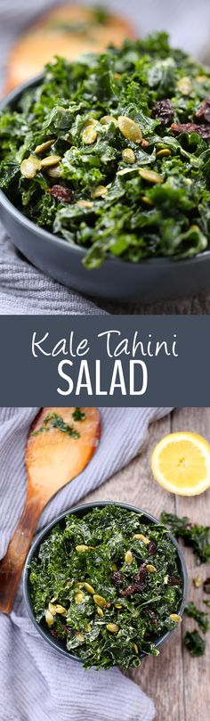 This Simple Kale Tahini Salad makes the perfect dinner base or side dish for a quick and healthy weekday meal. Pair it with some protein or eat it on the side for a healthy dose of greens.