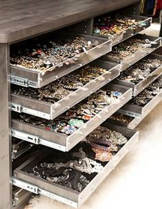 Storage Jewelry The jewelry - Beauty and style expert Mary Alice Stephenson has dedicated the whole second floor of her Brooklyn apartment as her closet space. Are you ready for this slideshow? Closet Storage, Closet Organization, Jewelry Organization, Organizing, Jewelry Dresser, Jewelry Cabinet, Jewelry Closet, Jewellery Storage, Jewellery Stand