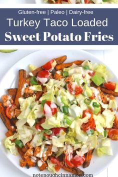 Turkey Taco Loaded Sweet Potato Fries | Clean eating loaded baked sweet potato fries with taco seasoned ground fried turkey, a quick creamy tahini sauce and homemade fresh salsa. A paleo, dairy free, and gluten free dinner or healthy TV Snack that will satisfy your fast food cravings! #realfood, #paleorecipes