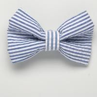 Small Royal Blue Seersucker Bow