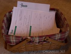 Finding Time to fill out forms- part of the Sunday Basket system