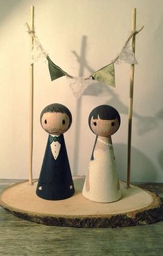 Wedding Wooden Peg Doll Cake Topper with Bunting and Wood Slice Stand - Custom and Personalised