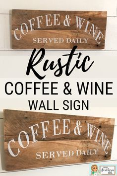 This Etsy rustic Coffee & Wine wall sign is perfect for your coffee, or wine bar decor! Great farmhouse style wall sign to complement your kitchen or dining room home decor. Farmhouse Kitchen Decor, Farmhouse Style, Diy Kitchen Projects, Diy Projects, Wine Wall Art, Family Wall Decor, Home Bar Decor, Coffee Bar Signs, Coffee Wine