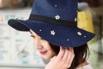 Bead flower Panama hat for girls summer straw sun hats