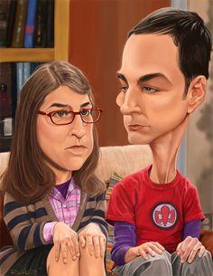Caricatura de Sheldon y Amy