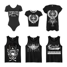 """From left to right """"Corvid Fam"""" Bodysuit, """"Horus Rising"""" CropTop, """"Horus Rising"""" Tee, """"Satan's Waiting'"""" Tanktop, """"Corvid Fam"""" Tanktop and """"Corvid Fam"""" Calligraphy Tanktop all part of our Summer '17 collection ☀️😎☀️ All limited edition & of the highest quality. Shop now at www.crmcclothing.co 
