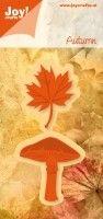 snij en embossingmal paddenstoel met herfstblad