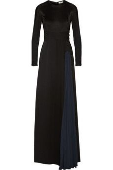Net-à-Porter | Issa Vanka black and midnight-blue silk-jersey gown with pleated panel that adds beautiful movement and an attached belt for the most flattering fit