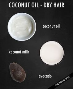 Dry Hair: 1 tbsp coconut oil,  1/4 cup milk, 1 ripe avocado. Puree avocado so there are no lumps. Mix coconut oil & avocado puree together well.  Apply to hair and leave  in for 20 minutes. Wash hair with warm water thoroughly to remove all avocado residue.