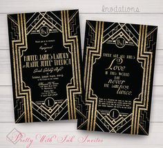 Gold and Black Monogram Invitations for Your Special Event by PrettyWithInkInvites. Price is determined by options and quantity. $3 for a Sample Pack.