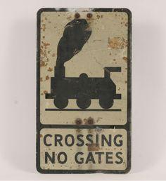 "Railroad memorabilia; (RR) Crossing No Gates vintage aluminum caution/road sign. 21"" x 12"". surface wear."