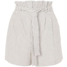 TopShop Stripe Paperbag Shorts ($40) ❤ liked on Polyvore featuring shorts, bottoms, white, paper bag shorts, topshop shorts, paperbag shorts, rayon shorts and tie waist shorts