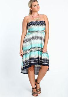 Plus Size Strapless Print Dress, MINT, large