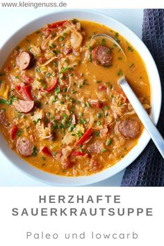 : Here you can find a recipe for a hearty sauerkraut soup with sausage, because . Here you will find a recipe for a hearty sauerkraut soup with sausage, which I can only recommend. because BreakfastRecipes find hearty Paleo recipe sauerkraut sausag Crock Pot Recipes, Healthy Soup Recipes, Low Calorie Recipes, Slow Cooker Recipes, Beef Recipes, Chicken Recipes, Quick Recipes, Menu Dieta, Quick And Easy Soup