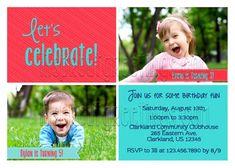 Joint Birthday Party Invitation Sibling Invite Twin Boy Girl Birthda
