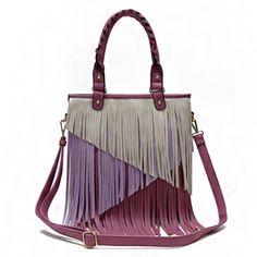Multi Tones Two Layer Fringe Women's Tote Handbag with Crossbody Strap (Purple)