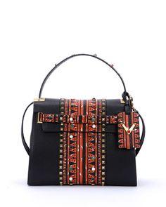 My Rockstud Medium Painted Satchel Bag, Black by Valentino at Neiman Marcus.