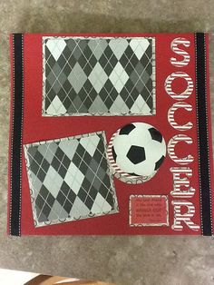 12X12 Premade Scrapbook Page Soccer by DandelionDots on Etsy, $12.00