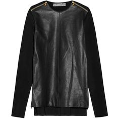 Proenza Schouler Zip-detailed leather and ribbed-knit top ($1,070) ❤ liked on Polyvore