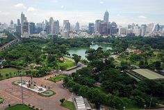 Aerial view of Lumphini Park, Bangkok. Taken from The Dusit Thani Hotel, Bangkok, Thailand. Best Places To Travel, Best Cities, Places To Visit, Krabi, Chiang Mai, Phuket, Laos, Isla Phi Phi, Khao San Road