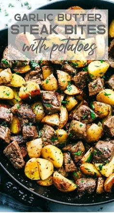 Garlic Butter Herb Steak Bites with Potatoes are such a simple meal that is full. - Garlic Butter Herb Steak Bites with Potatoes are such a simple meal that is full. Garlic Butter Herb Steak Bites with Potatoes are such a simple mea. Healthy Dinner Recipes For Weight Loss, Healthy Dinner Meals, Simple Recipes For Dinner, Super Easy Dinner, Healthy Steak Dinners, Simple Meal Ideas, Easy Recipes For Two, Easy Meals For Dinner, Healthy Dinner For One