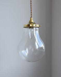 クリアガラスがキレイなランプシェード バルブ ペンダントライト(コード・シャンデリア球・ギャラリー 付き) (pl-147)