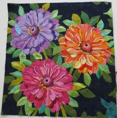 Zinnia Bouquet' Quilt Kit by Melinda Bula Designs Free Paper Piecing Patterns, Quilt Patterns, Art Floral, Zinnia Bouquet, Landscape Art Quilts, Keepsake Quilting, Flower Quilts, Thread Painting, Fabric Painting