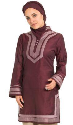 Mira Moroccan Inspired Maroon Long Tunic | Islamic Clothing at Artizara.com