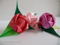 Своими руками (секреты ручной работы): Тюльпаны из атласных лент, цветы из лент…