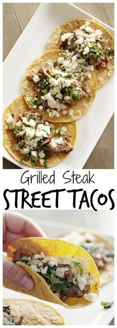 Grilled Steak Street Tacos - - Grilled Steak Street Tacos Recipes you MUST try! Steak street tacos are little bites of heaven. The ingredients are few and simple yet they are bursting with delicious flavor! via Favorite Family Recipes Easy Steak Recipes, Grilled Steak Recipes, Healthy Diet Recipes, Beef Recipes, Cooking Recipes, Cooking Tips, Simple Recipes, Seafood Recipes, Grilled Steaks