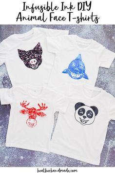 Learn how to make DIY animal face t-shirts with infusible ink and sewing. These animal faces have extra 3-D details for a pop of fun. I love adding extra details to my Infusible Ink projects. It's so easy when the Cricut Maker is doing the work for me. It's amazing that I can apply the Infusible Ink to fabric, and then be able to easily sew fabric onto it without damaging the design. I combined them to make the cutest DIY animal face t-shirts with 3-D details that stand out and move around. Baby Sewing Tutorials, Baby Sewing Projects, Sewing Blogs, Sewing Projects For Beginners, Sewing Patterns Free, Free Sewing, Sewing Ideas, How To Make Diy, Learn To Sew