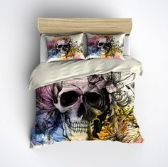 Featherweight Watercolor Sketch Skull Bedding - Skull with Flowers on Cream, Comforter Cover, Sugar Skull Duvet Cover, Sugar Skull Bedding Duvet Bedding Sets, Comforter Cover, Comforters, Duvet Covers, Ivory Bedding, Star Bedding, Chevron Bedding, White Bedding, Kitchen