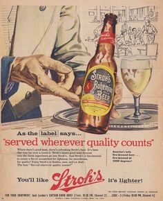 1957 Detroit Times STROH'S BEER by ThePearOfWestWilson on Etsy