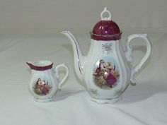 Musical Tea Pot & Creamer with Victorian Picture and Gold Accents
