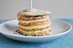 Cake Batter Pancakes!  What a perfect way to start a birthday morning!!  This may very well become a tradition in our house ;o)